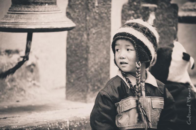 Niño tibetano en Bodanath